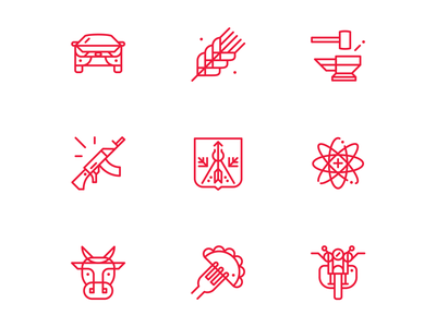 Made in Udmurtia / part 02 lada spikelets the science dumplings cow car motorcycle izh ak47 izhevsk illustration icon