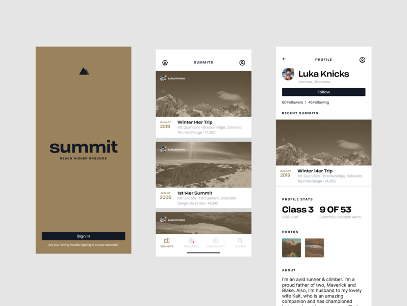 Summit App: Capture 14er Summits iphone clean logo ios app app branding sign in profile typeography simple mobile app white 14er mountain