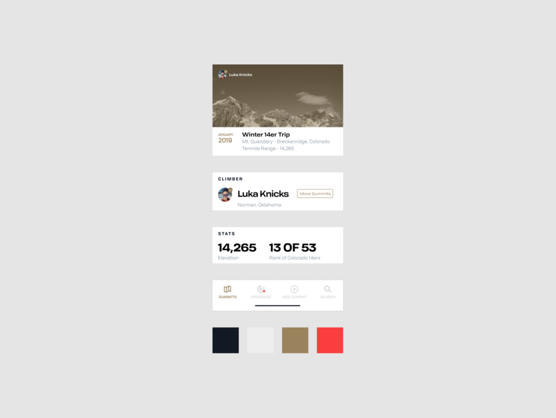 Summit App Components mobile simple style guide elements interface figma screens app design brown red gray white components style