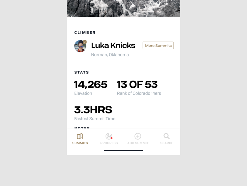 Summit App: Capture 14er Summits iphone clean flat typeography profile summit minimal simple stats 14er mountain white ios mobile app mobile screen