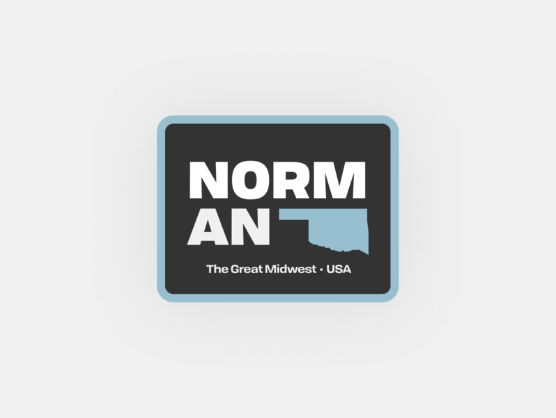 Weekly Warm-Up 1: Norman, OK sticker badge logo badge design type midwest state okc norman ok simple hometown