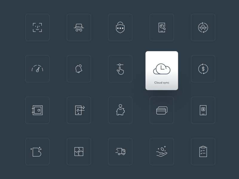 Fintech icon set landing page minimal clean web outline iconography icons pack iconset crypto flat icons set fintech illustration icon icons
