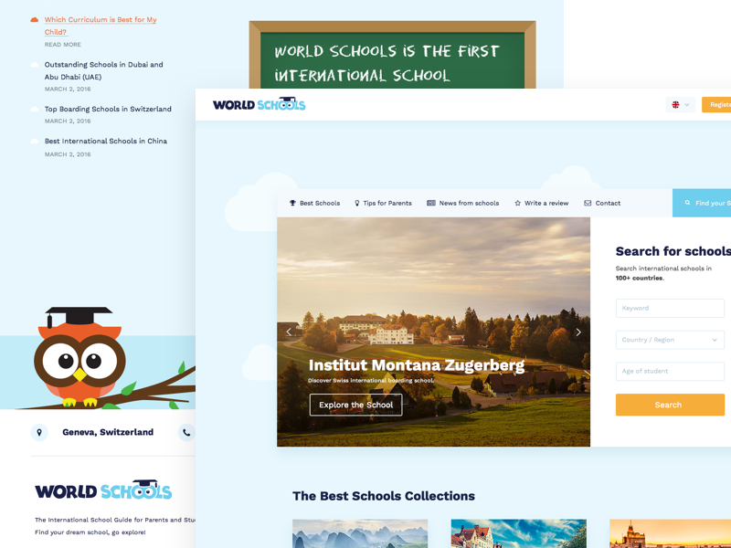 World Schools Homepage white space clean portal homepage landing page landing flat education world schools web ui ux