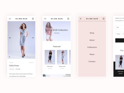 Elise Gug Mobile website flat landing page product page minimal clean layout design web responsive mobile eshop ecommerce ux ui