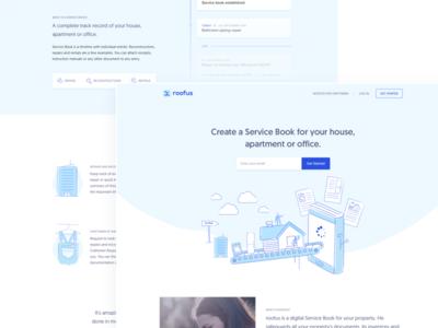 Landing page for roofus vector typography flat branding website layout blue illustration landing minimal landing page ui ux clean design