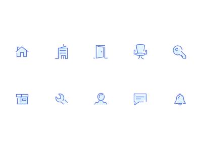 Icon set for roofus flat website blue vector branding mobile layout ui web ux design illustration minimal outline clean icons set icons