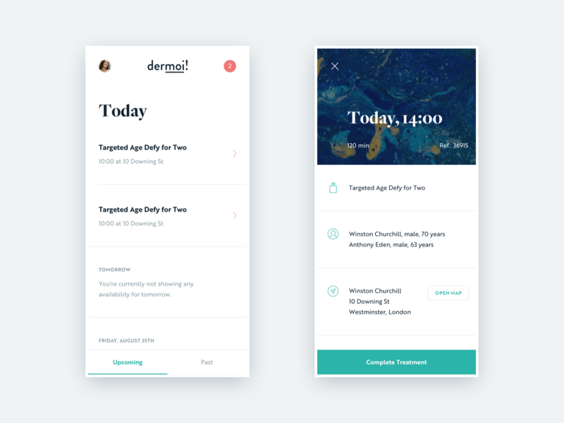 dermoi! - Therapist's schedule healthcare mobile app mobile layout icons minimal clean design flat ux ui
