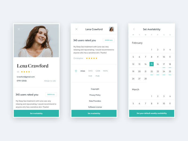 dermoi! - Therapist's profile and availability mobile design flat layout minimal clean ui ux