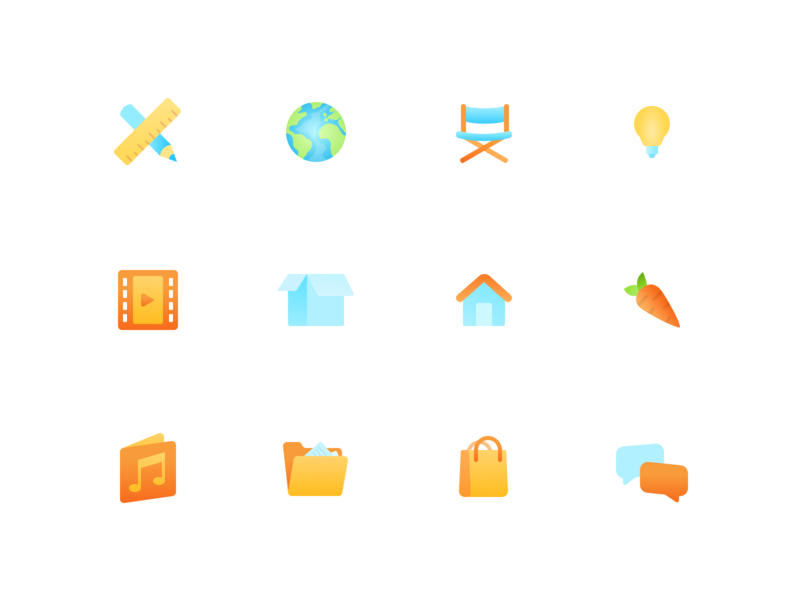 Gradient Icons folder house box chat shopping cart audio video earth icon colors branding vector illustration layout icons mobile minimal design flat ui
