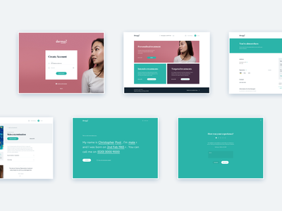 dermoi! - Desktop customer app conversational ui dashboard web app web application react web design landing page layout minimal clean ux ui flat
