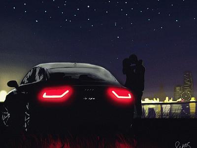 Audi a7 car draw love art draw car illustration