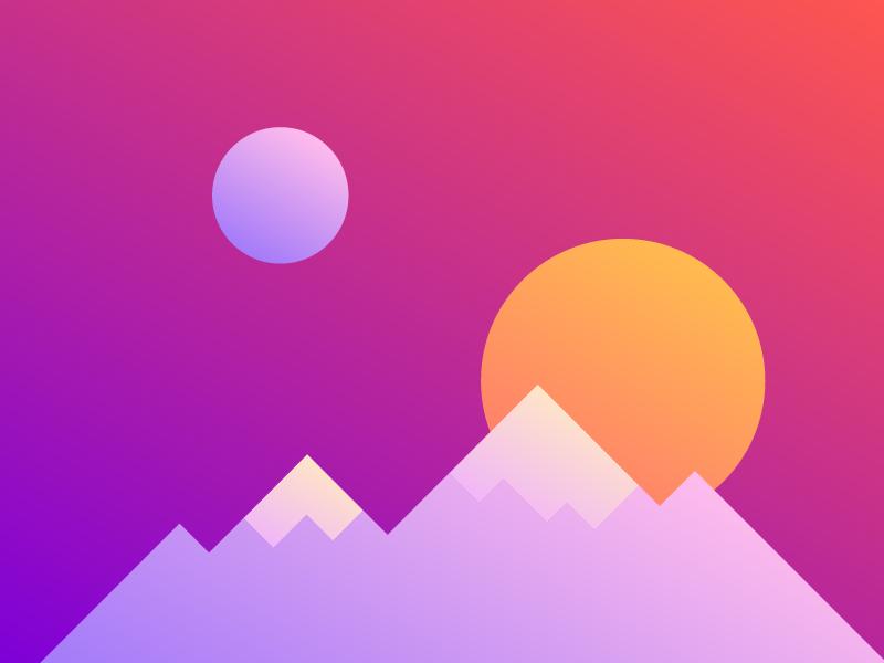 Sunset (Full) mountains moon sun sunrise gradients gradient sunset