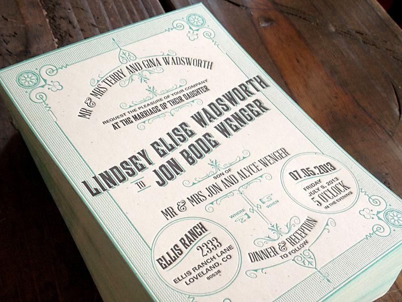 Wenger Letterpress Invitation Set letterpress wedding invitation