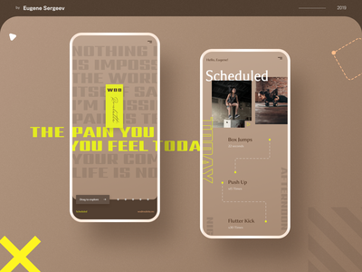WOD Roulette - workout app redesign pageload typography animation task management calendar mobile splash exercise schedule event to do list crossfit trainer workout training sport timeline gym fitness activity feed