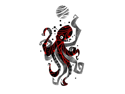 Octopus red black dotwork octopus design illustration