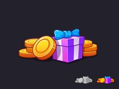 Reward luck drop package draft process game flat reward gain gift box gift coin illustration