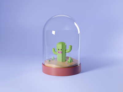 Cactus light smile grow bottle green life natural plant cycle blendercycles b3d blender glass render