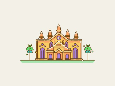 Temple traditional worship monastery religion buddhism scene tree line old building temple illustration