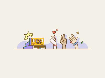 Take a photo with Polaroid. illustration lens camera love heart finger hand snap click shop photo polaroid