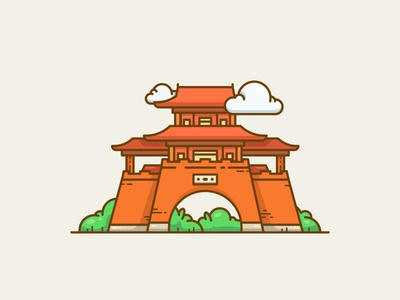 Pavilion ancient wuhan cloud line tradition dynasty china tower temple pavilion illustration