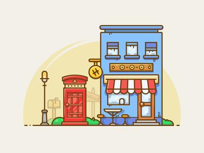 Street coffee city mailbox light shop club store line. booth illustration street