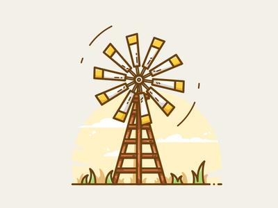 Windmill winnower windmill wind village pinwheel nature meadow lawn illustration grassland farm comet