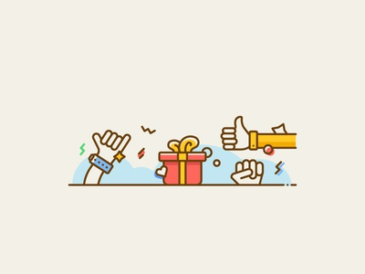 Simple Illustration 2 well good present vacation happy finger hand like wish gift line illustration