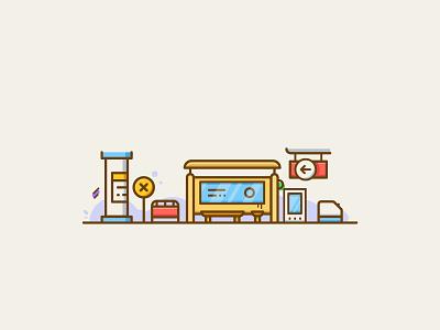 Simple Illustration 4 road city ticketing check in transport traffic subway bus stop metro station illustration
