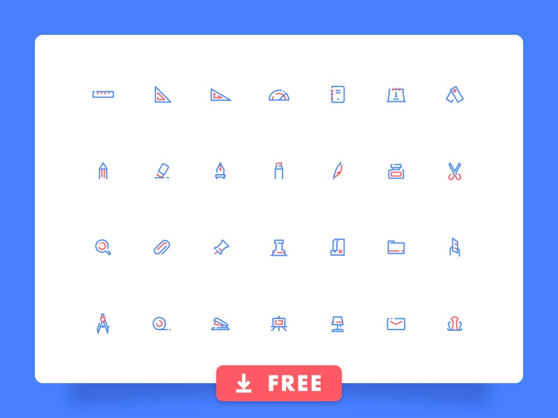 28 Free Stationery Icon Set stapler protractor feather pen download free eraser clip scissors simple line icons stationery