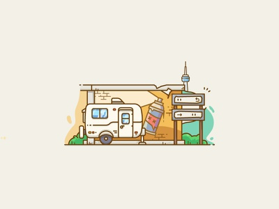 Mini Travel-Trailer signs camper trailer freestyle city wuhan outline line vector illustrator wall graffiti