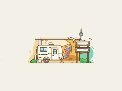 Mini Travel-Trailer signs camper trailer freestyle city wuhan outline line vector illustrator wall graffiti