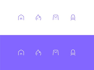 Icons recommend me shopping hot fire home purple tabbar outline flat illustration icons