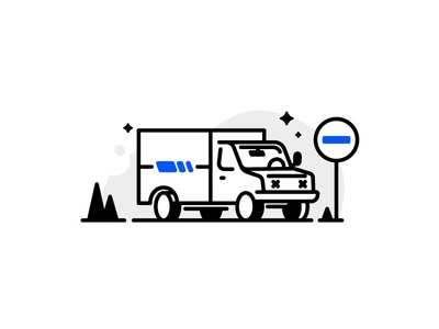 Truck services delivery transport parking carrier jungle van lorry car truck icons line illustration