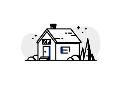 House rest relex life tree jungle home house line icon illustration