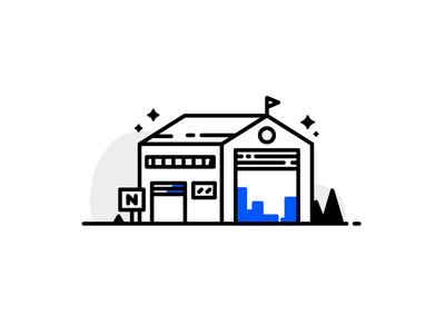 Storehouse warehoused goods depot warehouse storehouse building animation line illustration