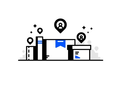 Express package case chest box deliver parcel transport location express package delivery line illustration