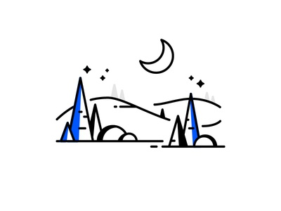 Forest adventure outline mountain moon jungle forest tree icon line illustration