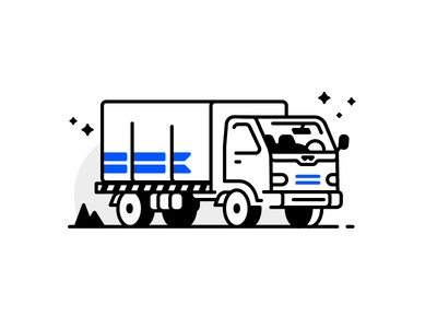 Truck traffic package express deliver camion lorry truck website icon line illustration