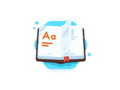 Dictionary study web paper book word gradient flat game dictionary icon illustration