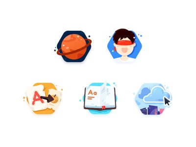 Game icons learn study play funny happy star book mobile html click puzzle graphic web game word 2d plant game flat icon