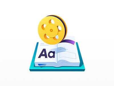 Multimedia icon player media old gradient flat audio video flim book multimedia vector design icon illustration