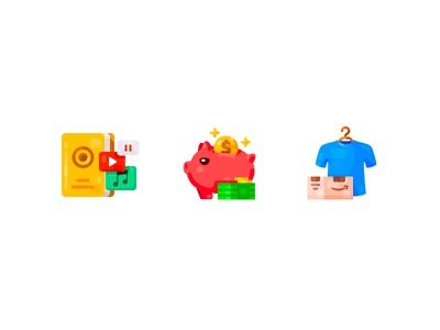Icon set - 1 shop collect finance investment icons online shopping buy clothes package amazon cost bank money media player book media flat ui icon illustration