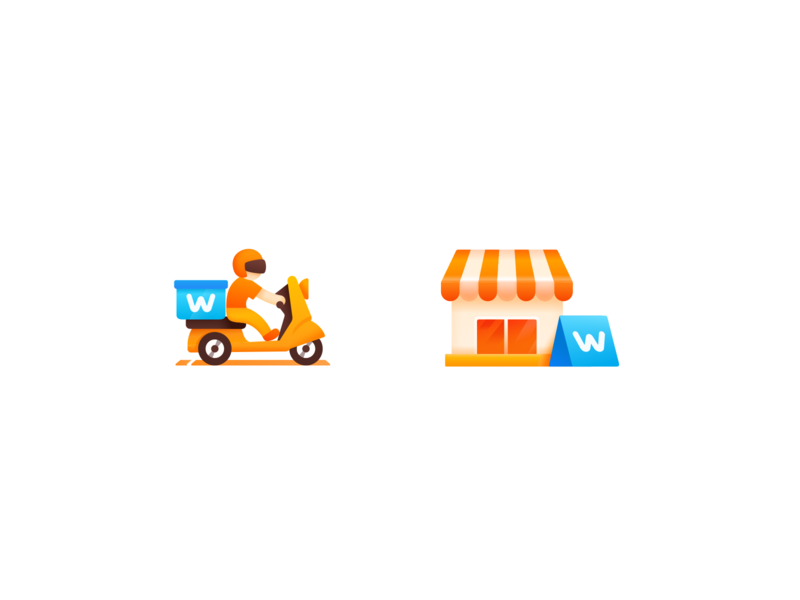 Icon 2x package express supermarket order send transport convenience store shopping carrier motorcycle mall store shop delivery deliver motorbike vector ui icon illustration