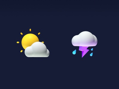 weather icon octane sun cloud cartoon rain thunder sunny 3d c4d icon weather icon weather render