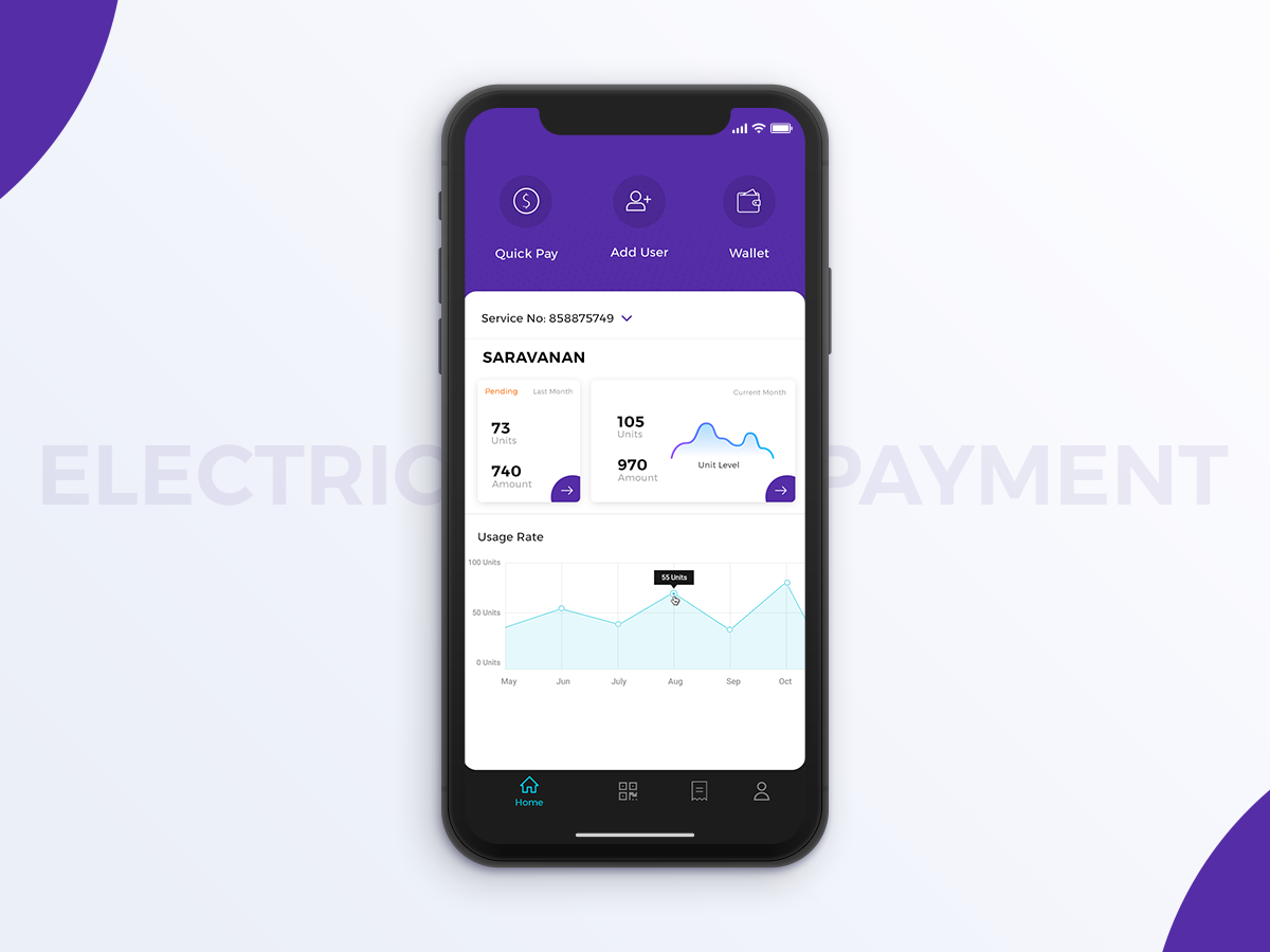 Electricity Bill coloful home user interface design user experience design ui ux design ui app design electricity-bill zoho-task homepage eb bill-payment bill-mobile electricity