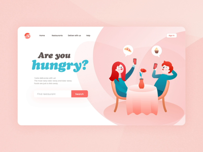 Food delivery service characters ui ux delivery service food pizza illustration animation transition restaurant hand drawn color aftereffects affinity designer cutlery loader animation shape animation girl illustration boy illustration