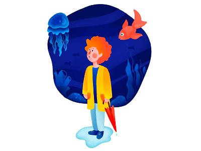 Character Illustration underwater umbrella fish jellfish boy sea character design illustration