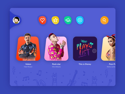 Concept Spotify Kids wave playlist song music color kids music player ui