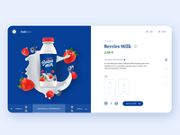 Fruit Juice | E-commerce concept webdesign color uidesign menu interaction strawberry milk berries blue slider animation fluid juice fruit ui