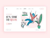 Website - Freetime color illustration character design relax boy sweater book cat plant swing desktop pink hand drawn design ui  ux shape freetime